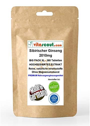 Sibirischer Ginseng Extrakt entspricht 2010mg Pulver PRO TABLETTE - MADE IN GERMANY - 365 Tabletten - OHNE MAGNESIUMSTEARAT - LABORGEPRÜFT