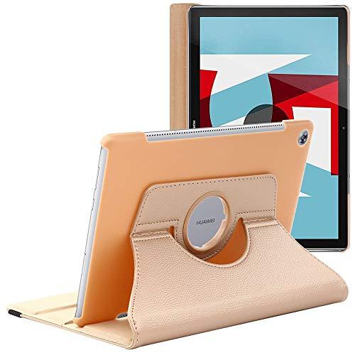 ebestStar - kompatibel mit Huawei MediaPad M5 10.8 Hülle Tablet 10.8 Rotierend Schutzhülle Etui, Schutz Hülle Ständer, Rotating Hülle Cover Stand, Gold [M5 10.8: 258.7 x 171.8 x 7.3mm, 10.8'']