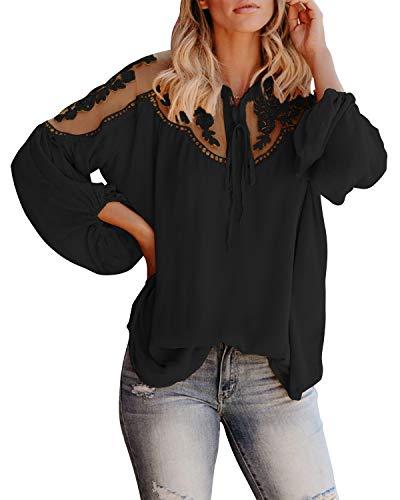 Style Dome Blusa para Mujer Camisetas Mujer Tallas Grandes Elegante Manga Largo Fiesta T Shirt Tops Blusas Manga Larga Transparente 3-Negro XL