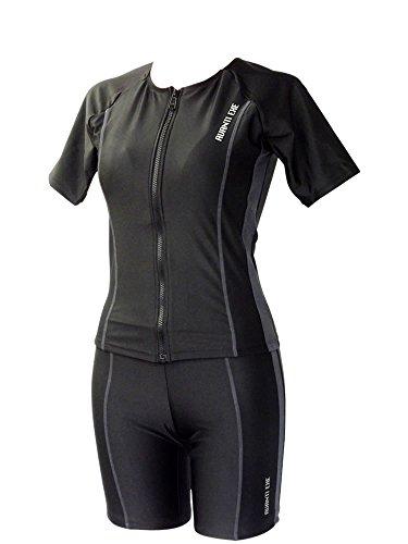 水着 レディース フィットネス 体型カバー セパレート 女性 フロントジッパー 袖付 UV NS83314-GR-11L