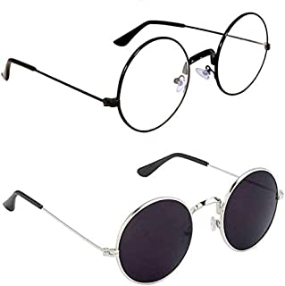 HIPPON UV Protection Round Unisex Sunglasses (Clear,Black, 53) Combo of 2