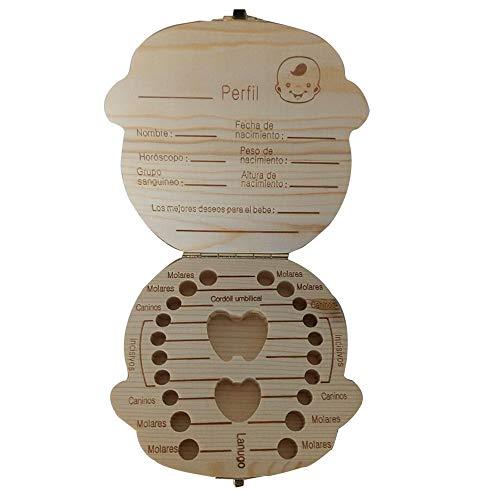 YAMEIJIA Baby-tanden-gedenkbox houten bladertanden box Dental verzamelbox baby opbergdoos tandhouder