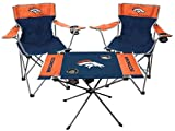 Rawlings NFL 3-Piece Tailgate Kit, 2 Gameday Elite Chairs and 1 Endzone Tailgate Table, Denver Broncos