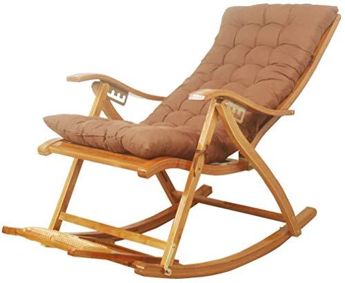 Sonnenliege Klappbar Liegestuhl Liegestuhl Einstellbare Liege Bambus-Stuhl für Garten Patio Rasen Nutzung Schwerelosigkeit Schaukelstuhl Klappstuhl mit Kissen Fußraste Thick Kissen Kissen max. 260 kg