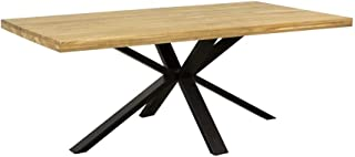 Table de salle à manger en chêne massif avec lamelles traversantes Noir