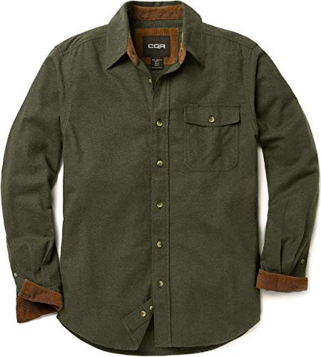 CQR Men's All Cotton Flannel Shirt, Long Sleeve Casual Button Up Plaid Shirt, Brushed Soft Outdoor Shirts, Corduroy Lined Solid Hunter Green, X-Large