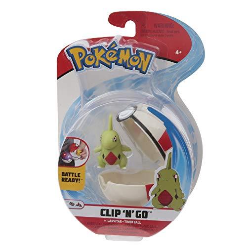 Giochi Preziosi Pokemon - Pokémon Clip'n Go con Personaje Larvitar & Timer Ball