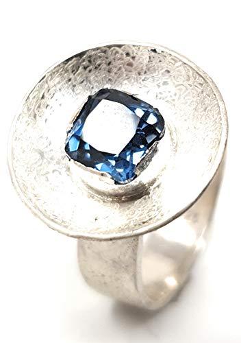 Ring, Zirkon, Blau, 925er Silber, Gr.56, Design, Handarbeit, Unikat