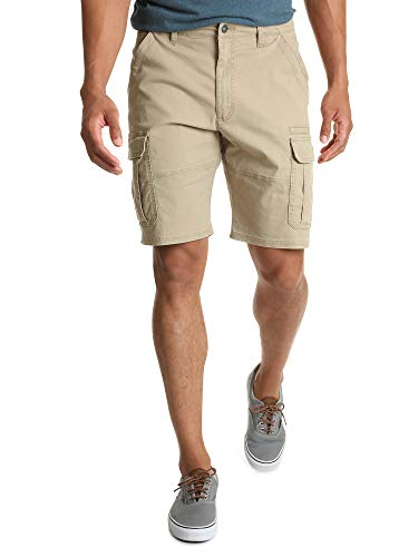 Wrangler Authentics Men's Classic Relaxed Fit Stretch Cargo Short, Grain Twill, 33