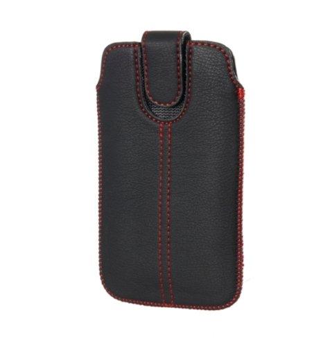 Handytasche Redstripe für Wiko Cink Peax 2 II Handy Tasche Schutz Hülle Slim Hülle Cover Etui schwarz (ku-x1-restr)