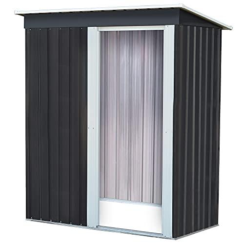 Gartenhaus Metall 2m³ – Geräteschuppen – 150x75x180cm – Gerätehaus mit Pultdach – Gartenschrank wetterfest – Solide Bauweise – Qualitätskontrolle – Wels
