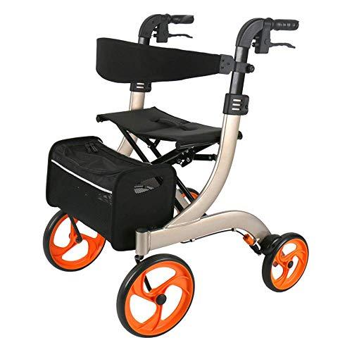 GUOOK Klappbarer Rollator Walker Leichtes Aluminium mit Doppelbremssitz und Abnehmbarer Aufbewahrungstasche Höhenverstellbar mit Rohrhalter für ältere Menschen