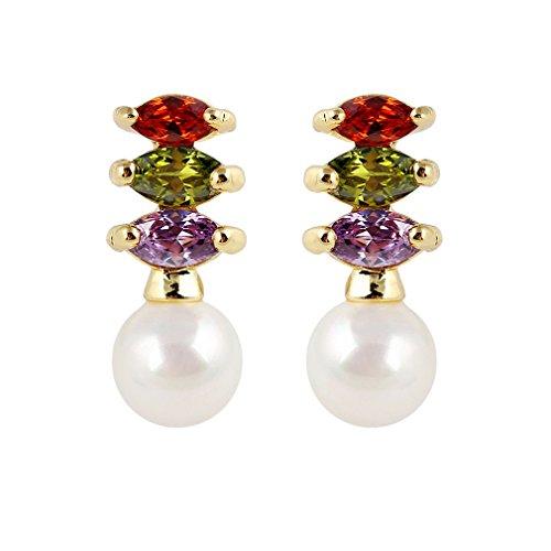 Yazilind oro 18K plateó los pendientes del perno prisionero de la perla de imitación con Encanto circonio cúbico para la Mujer