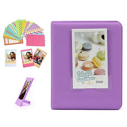 Wogozan 64 Pockets Candy Bookshelf Album for Fujifilm instax Mini 11 9 8 7S 70 25 liplay Link Film 3 inch Photos/3 inch Game Card/Name Card/Bank Card- Purple