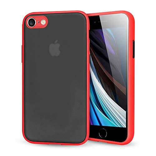 Suhctup Compatible con iPhone 7/8/iPhone SE 2020 Funda de PC Rígida Back Mate Transparente Carcasa con TPU Silicona Bumper Ultrafina Antigolpes Anti-arañazos Protección Caso,Rojo