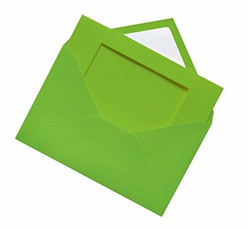 folia 110351 - Passepartouts genarbt mit rechteckiger Stanzung, ca. 11 x 18 cm, 3 Karten (220 g/qm) und Kuverts, hellgrün - ideal für Einladungen, Glückwunsch- oder Grußkarten