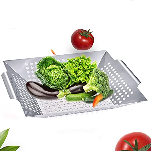 B Blesiya Kabobs - Parrilla perforada para barbacoa al aire libre, verduras, pescado, carne, utensilios de camping al aire libre, acero inoxidable