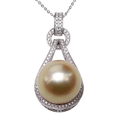 JYX AAA Gold-Südsee-Perle mit 18 Karat Gold und Diamanten 15,5 mm