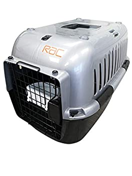 RAC Cage de Transport Portable en Plastique pour Animal Domestique Noir/argenté Taille M