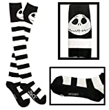 Nightmare Before Christmas Knee High Socks - Jack Skellington - Striped Black& White - Size: 4-10 US