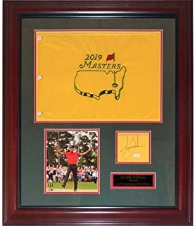 Tiger Woods Autographed 2019 Masters Champion Deluxe Framed Flag Piece with Signature - JSA