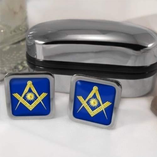 D'un symbole maçonnique pour homme Senior Deacon Carré Chrome Boutons de manchette avec coffret cadeau