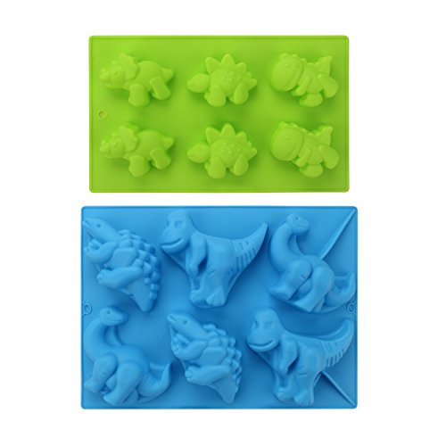 Dinosaur Silicone Molds, Beasea 2 Pack Dinosaur Jello Mold 3D Cake Mold for Gummies Chocolates Ice Cube Cake Decorations Baking Tools