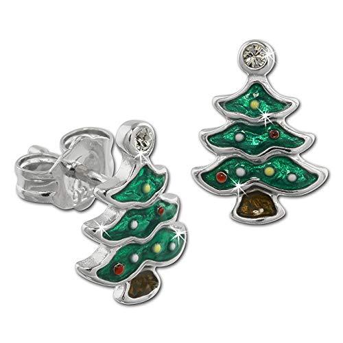 Teenie-Weenie Ohrringe Kinder Silber Ohrstecker Weihnachtsbaum grün SDO613G