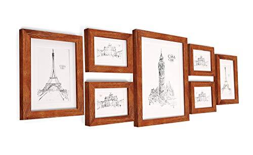Classic by Casa Chic Bilderrahmen Set aus Echtholz mit Glasscheibe - 7er Set Fotorahmen - Rustikales Braun - enthält Passepartout - Rahmenbreite 2cm