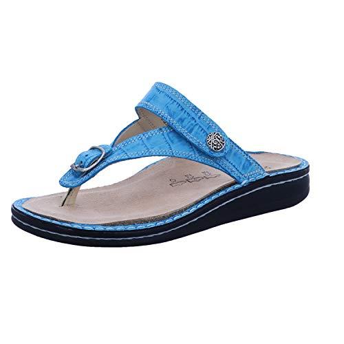 Finn Comfort Alexandria Soft Damen Zehenstegsandale Pantolette blau Aqua/Bora