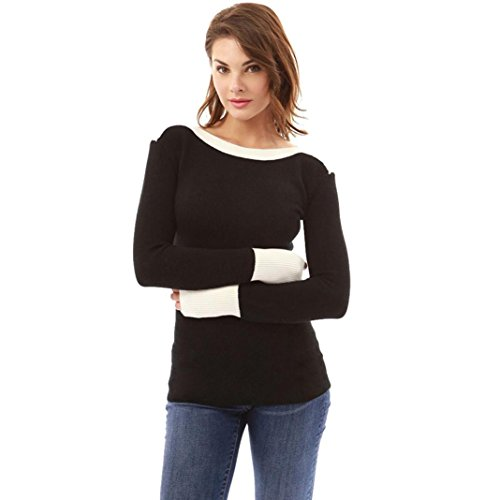 TiTCool Womens Sexy O Neck Fight Color Long Sleeve Jumper Sweaters Warm Blouse Tops (Black, XL)