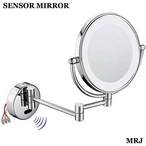LY88 Espejo de Maquillaje con Sensor de Montaje en Pared, Espejos de Afeitado para baño con Lupa 5X y decoración Hotel Vanity con Dos Superficies giratorias