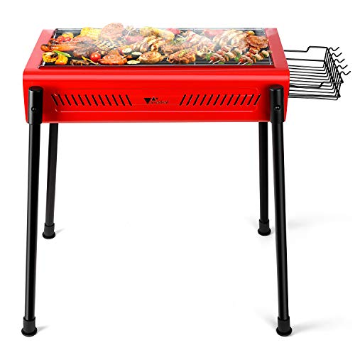 amzdeal Holzkohlegrill Grill Grillwagen Tragbarer BBQ Barbecue Holzkohle Grill für Garten Terrasse Park Picknick und Camping, Edelstahl, Abnehmbare Beine, Rot