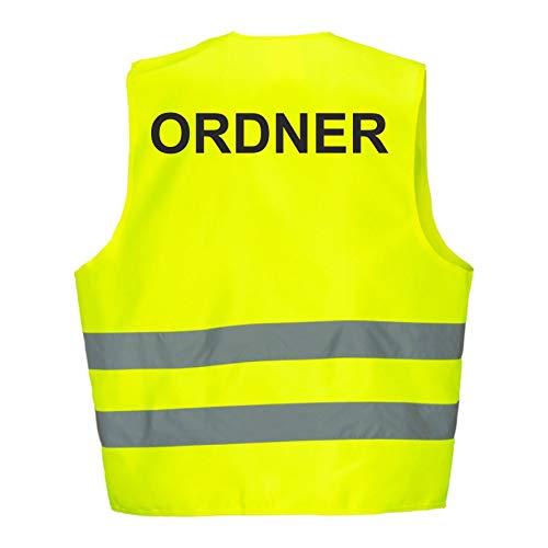 Warnweste GELB Sicherheitsweste Weste Ordner Security Crew (Ordner 5er Paket)