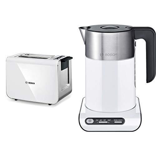 Bosch TAT8611 Kompakt Toaster Styline / Edelstahl u. Kunststoff / für 2 Scheiben Toast / 860 Watt & Bosch TWK8611P Styline Wasserkocher