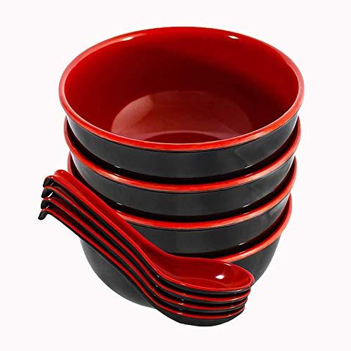 Tazón rojo negro cuchara juegos melamina vajilla estilo chino fideos cuencos