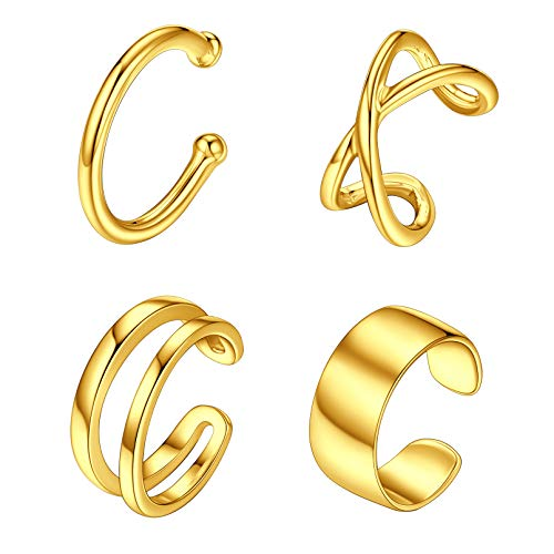 1 set 4 Unidades Pendientes Piercing sin Agujeros Plata de Ley 925 Ear Cuff para Orejas Clip Básico Moderno para Mujeres Muchachas Chapado en Oro Amarillo 18K