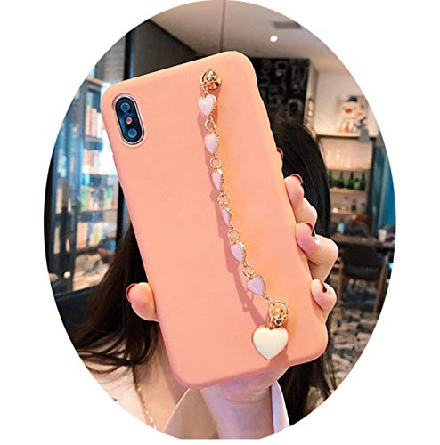 Pink Love Heart 3D Gemstone Bracelet Soft Cover for iPhone 11Pro MAX 11 XS XR 7 8plus for Samsung S7 8 910Lite Note8 9 Back case,A,for Galaxy S7 Edge