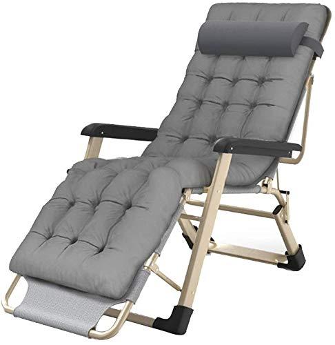 WQL Liegestuhl Gepolsterte Freizeitliege mit Abnehmbarer Kopfstütze und Optionales Kissen Verstellbar in Mehreren Positionen Garten Sonnenliege Outdoor- Chair+May