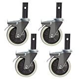YJDQJL 4x Möbelrollen/Schwerlastrollen, ø100 mm Lenkrollen/Bremsrolle,für Speisewagen, Einkaufswagen,Weiche Räder,Geräuschlos und abriebfest/B/Stumm