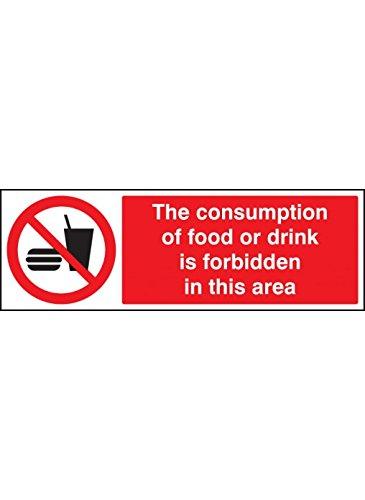 Caledonia Signs 13631G Verbruik van voedsel of drank is verboden in dit gebied bord, 300 mm x 100 mm, stijve plastic