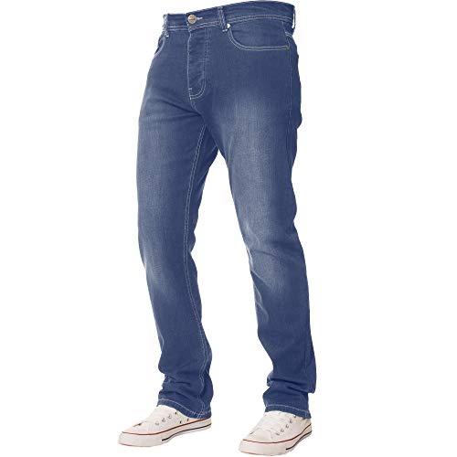 Enzo New Mens Stretch Straight Leg Regular Fit Classic Basic Denim Jeans (32W x 30L, Light Blue)