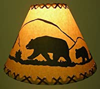 """Rustic 9"""" Laced lamp Shades with Scene- Clips onto Light Bulb"""