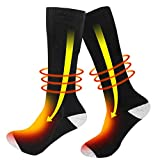 Wodesid Heated Socks for Men Electric Socks Women Rechargeable Battery Heating Sock Winter Warmer Thermal Sock for Riding Skiing Motorcycling Fishing Hiking (3.7V 2200mAh Battery)