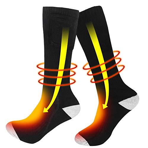 Chaussettes Chauffantes Électriques Pour Hommes Femmes 3.7V 2200mAh Batterie Rechargeable Chaussettes hiver Chaussette Thermique Pour L'équitation Ski Moto Pêche Randonnée Sommeil (Noir-2200mAh)
