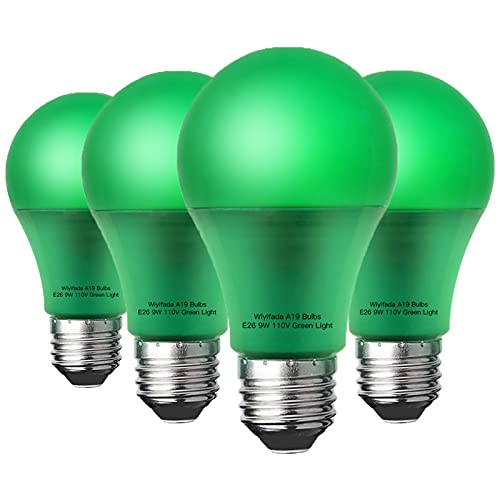 Wiyifada 4 Pack A19 LED Green Light Bulbs,E26 110V 9W Green LED Lights Replace up to 100W, Colored Light Bulbs for Porch, Home Lighting, Party Decoration, Holiday Lighting (Green Light)