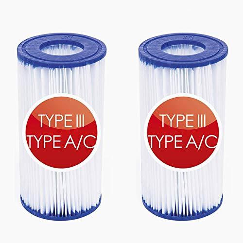 Para Summer Waves P57100204 Cartucho de repuesto tipo A/C para piscina y bañera de hidromasaje con papel de filtración resistente, para Intex 29000E/59900E (2 unidades)