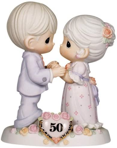 Precious Moments, We Share A Love Forever Young, 50th Anniversary, Bisque Porcelain Bisque Porcelain Figurine, 115912,Multi-colored,Medium