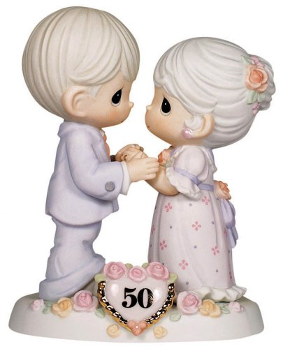 Precious Moments, We Share A Love Forever Young, 50th Anniversary, Bisque Porcelain Bisque Porcelain Figurine, 115912