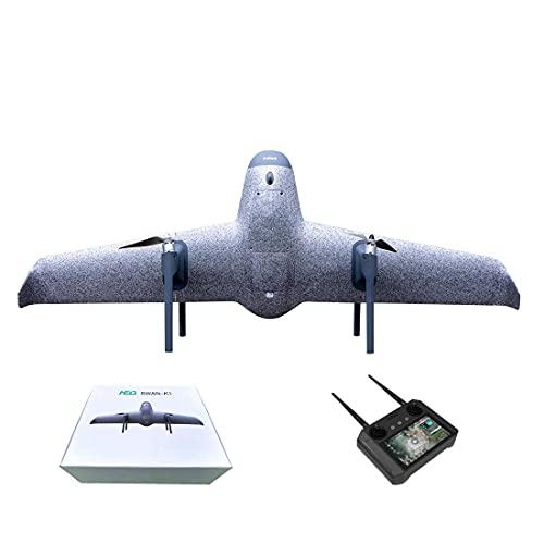 Achko Drone con fotocamera, HEQ Swan-K1 FPV VTOL Drone 5 KM, trasferimento immagine 45 min, velocità di volo modulare, drone RC, atterraggio iniziale verticale - grigio